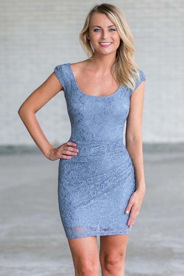 Pale Blue Lace Sheath Dress, Cute Blue Cocktail Dress Lily Boutique