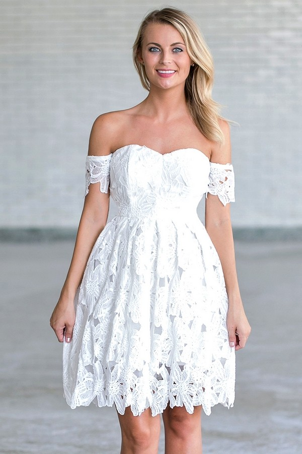 Off White Crochet Lace Off Shoulder Dress, Rehearsal ...