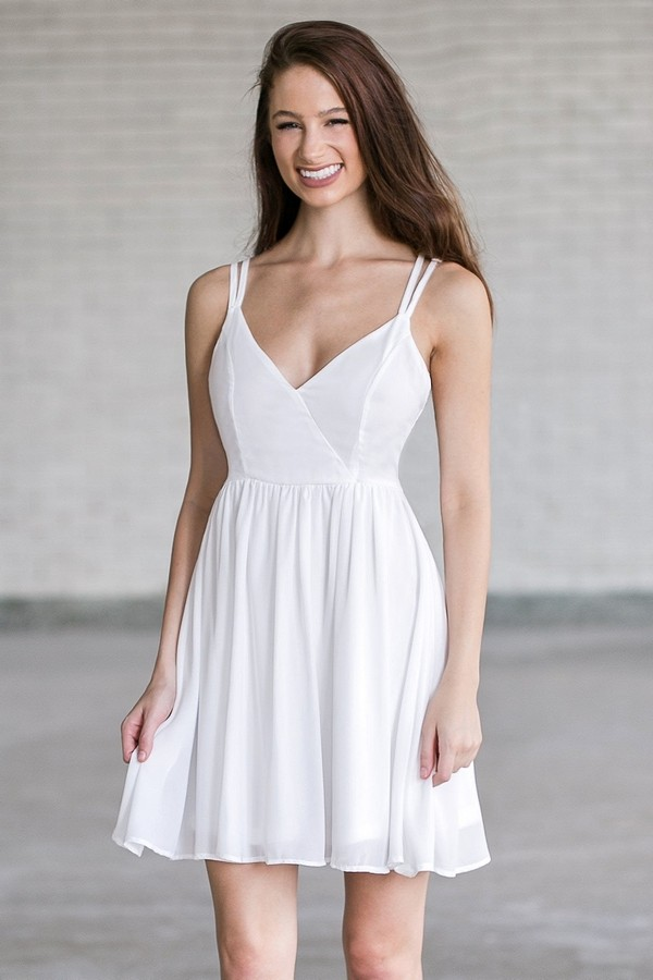 Ivory Sundress, Cute Off White Party Dress Online, Summer ...