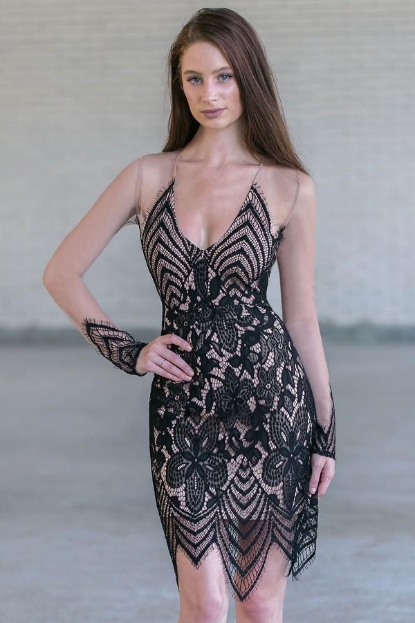 Black Lace Mesh Dress, Cute Black Cocktail Party Dress Lily Boutique