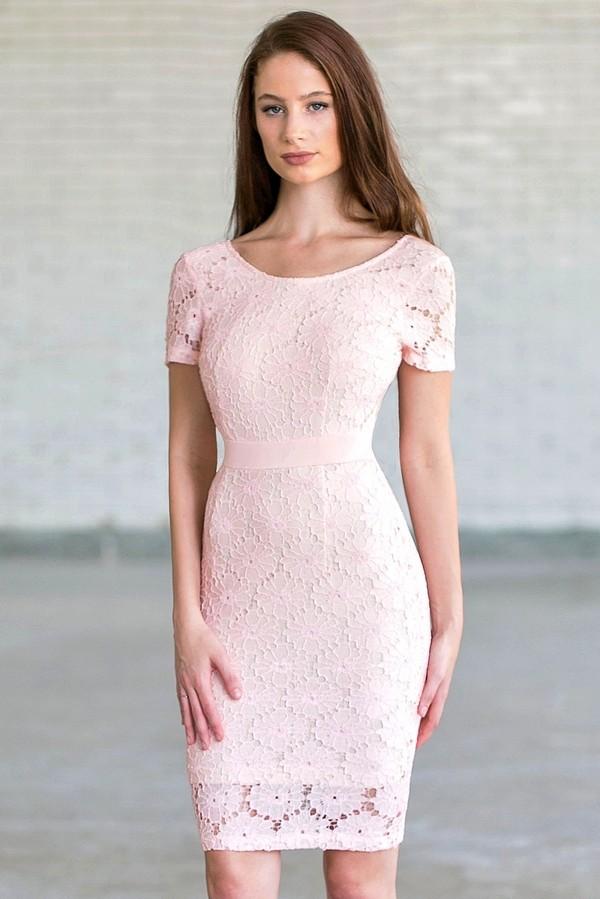 11b1f7ee439 Bygone Era Lace Pencil Dress in Pale Pink Beige
