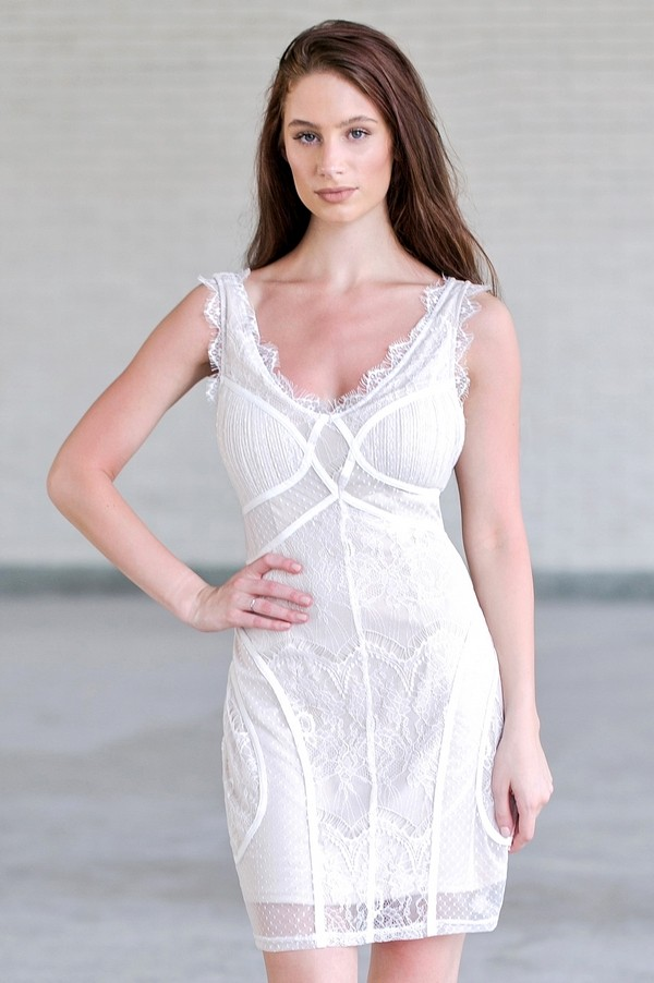 Off White Lace Bodycon Dress