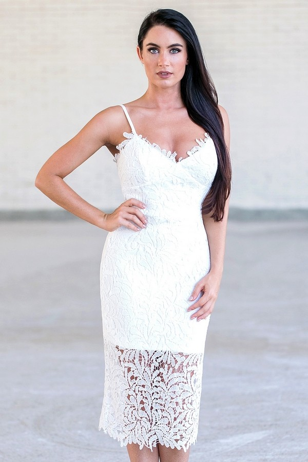 Off White Lace Bodycon Dress, Cute White Lace Dress Lily Boutique
