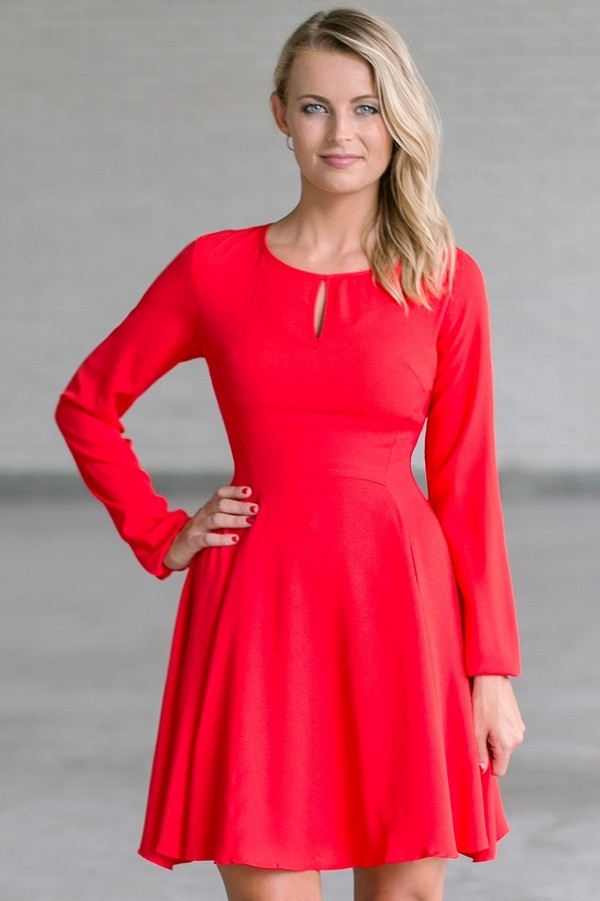red long sleeve dress  cute red holiday dress  red party