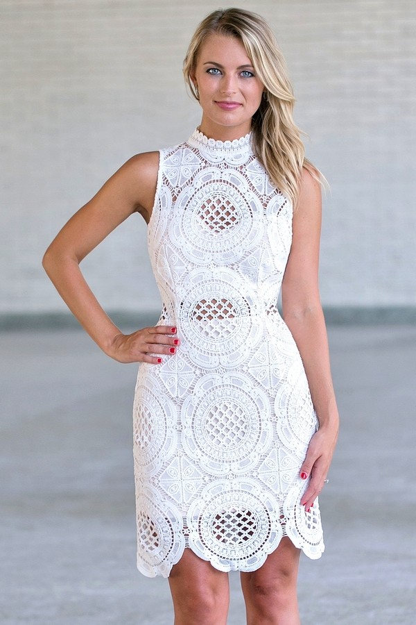 white lace high neck sheath dress white lace rehearsal dinner dress cute bridal shower dress lily boutique
