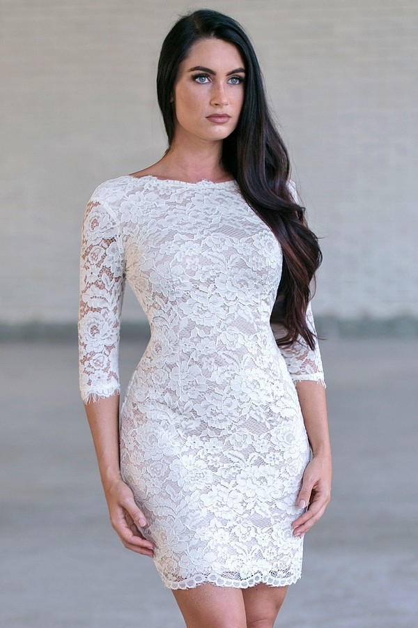 Cream Lace Cocktail Dress, Cute Rehearsal Dinner Dress, Bridal ...