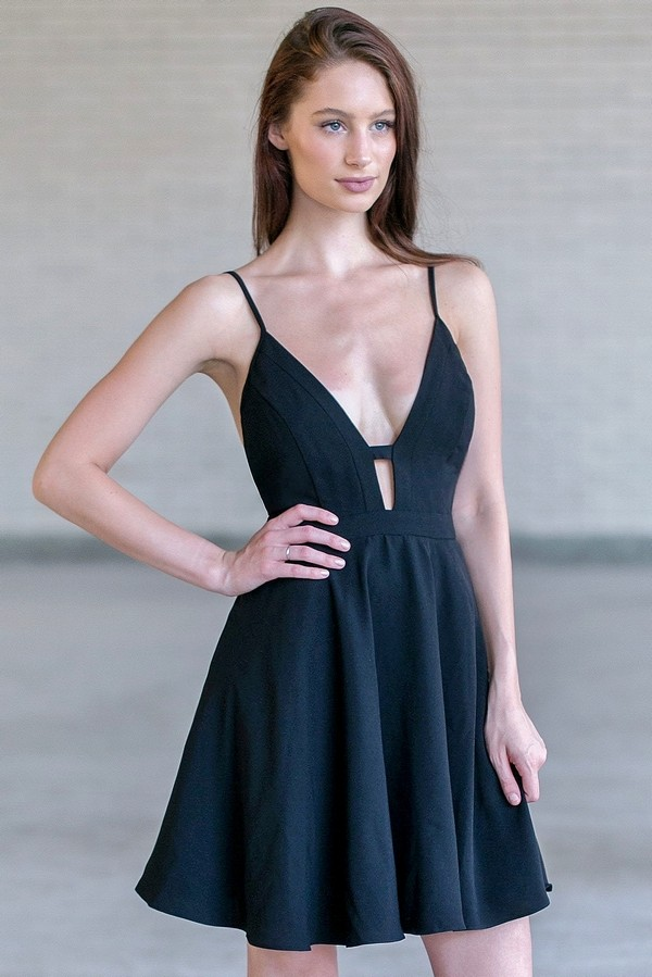 black plunging neckline dress black party dress black