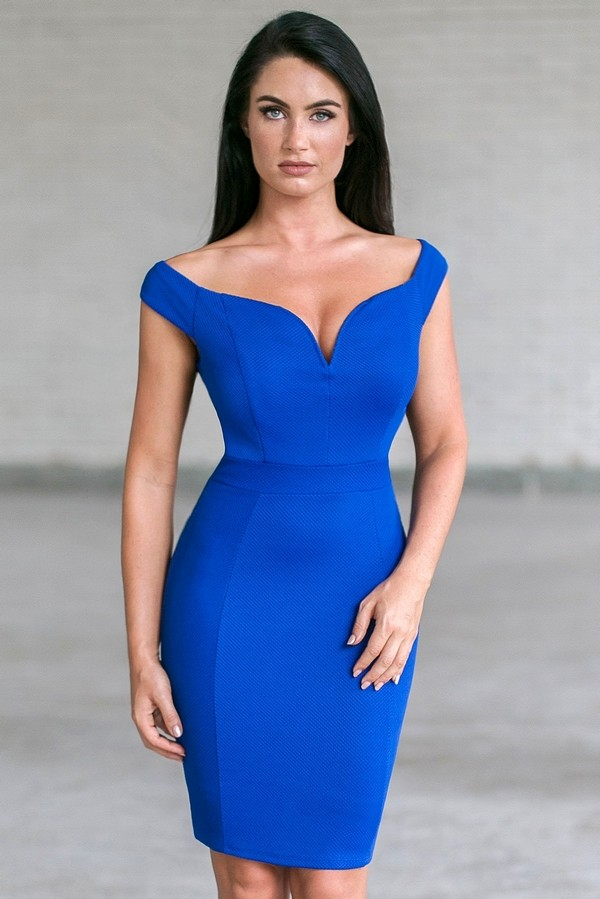 Royal Blue Off Shoulder Pencil Dress | Cute Blue Juniors Dress Lily ...