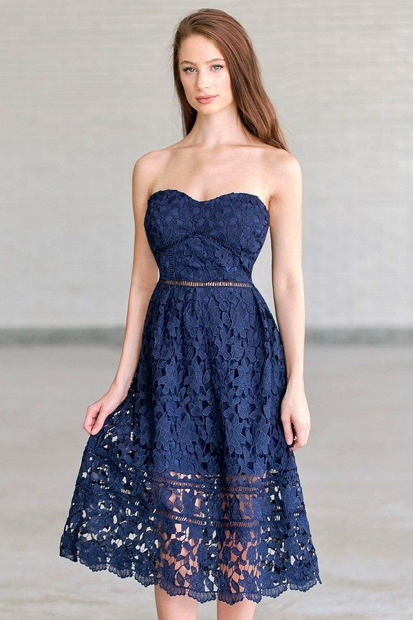 navy lace midi a line dress navy blue summer dress