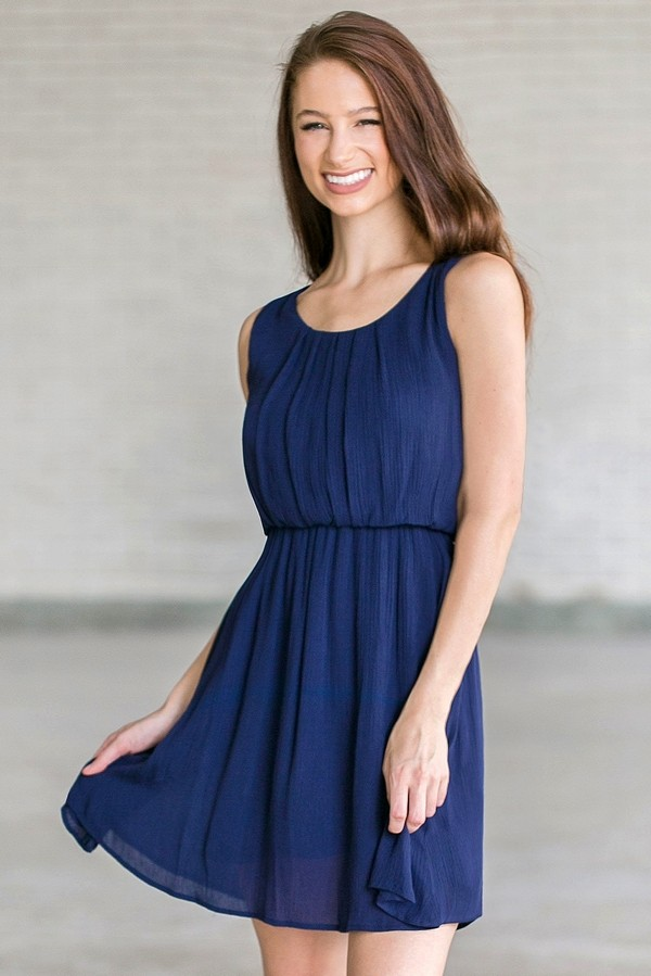 Navy and white dress for women