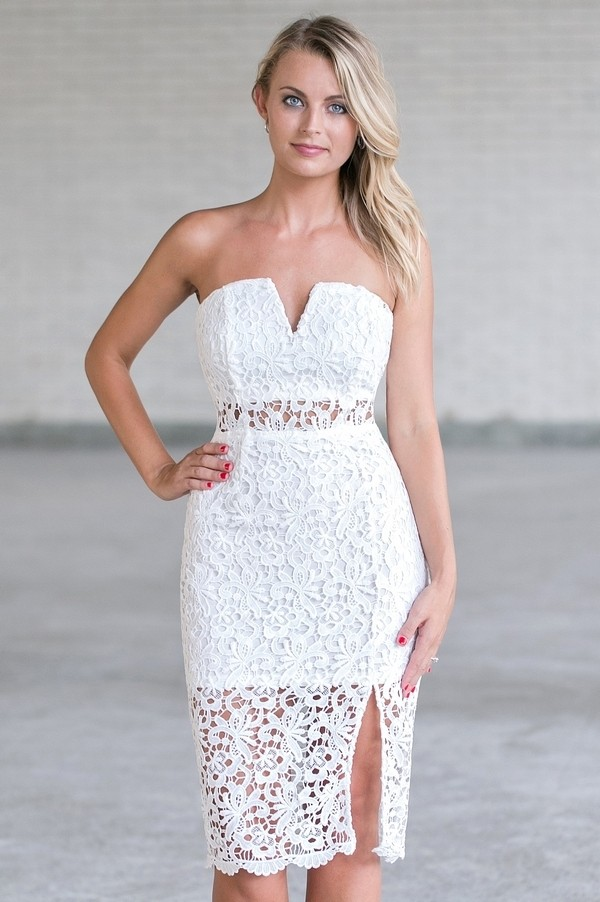 7a7640557c5 White Lace Strapless Dress
