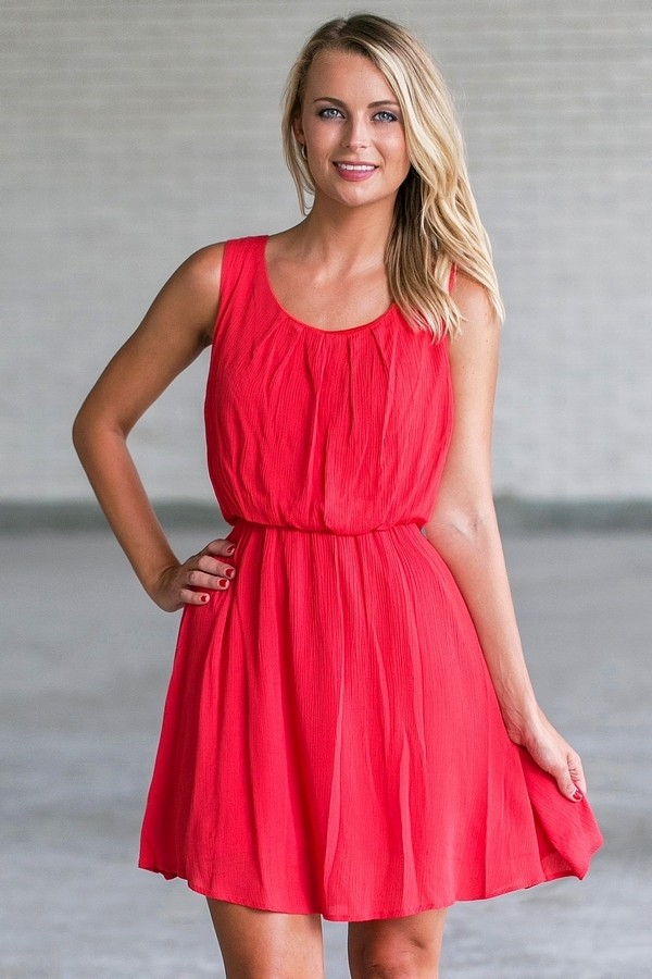 Red Chiffon Summer Dress