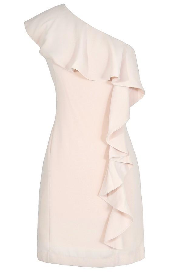 One Shoulder Ivory Dress One Shoulder Ruffle Dress