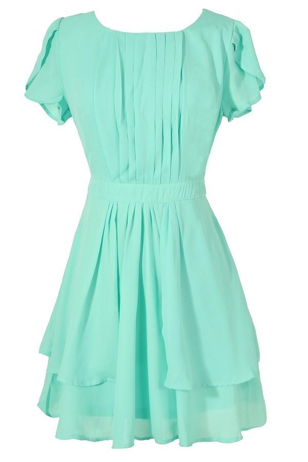 cute mint summer dress mint chiffon dress mint green