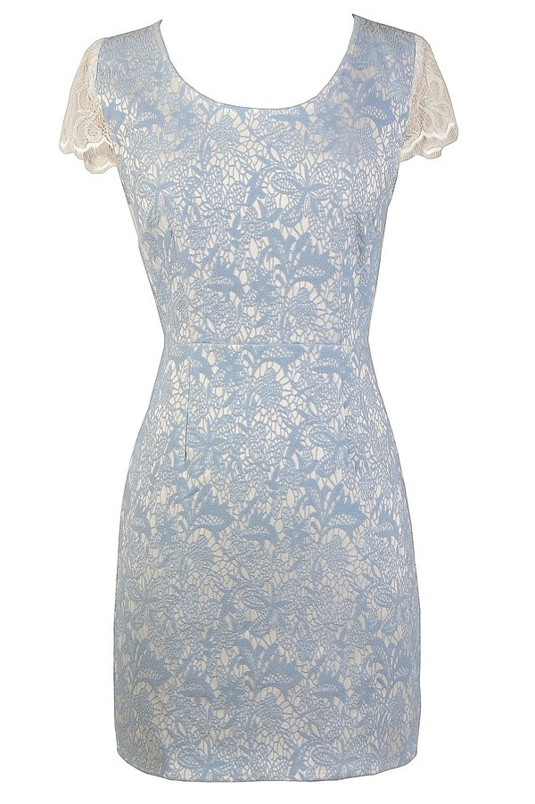 dcb77052a Blue and Ivory Lace Dress, Blue and White Lace Dress, Blue and White Dress
