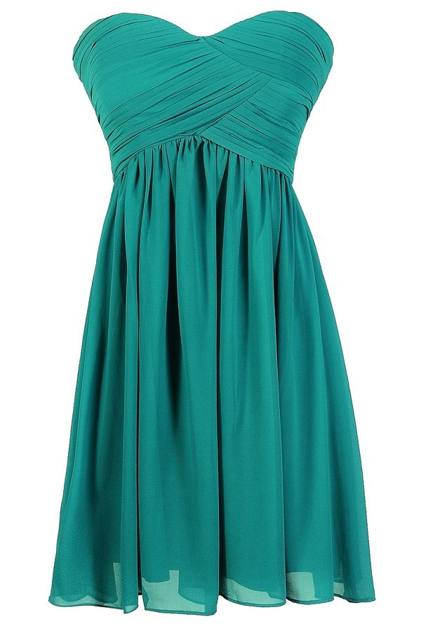 Teal Bridesmaid Dress, Teal Strapless Bridesmaid Dress, Cute Teal ...