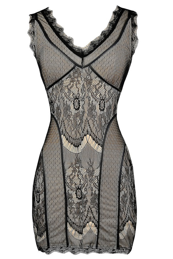 Black And Beige Living Room Decor: Black And Beige Lace Bodycon Dress, Black Lace Fitted