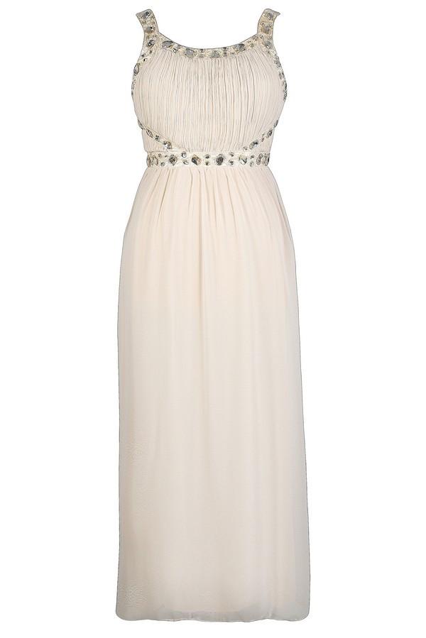 You\'re A Gem Embellished Maxi Dress in Beige - Plus Size