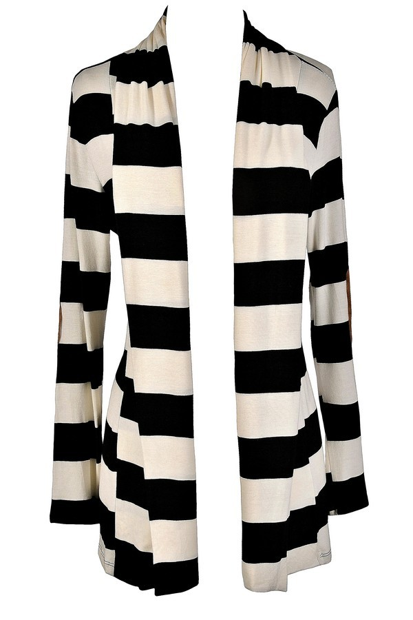 Black and Ivory Stripe Cardigan, Black and Ivory Patch Cardigan ...