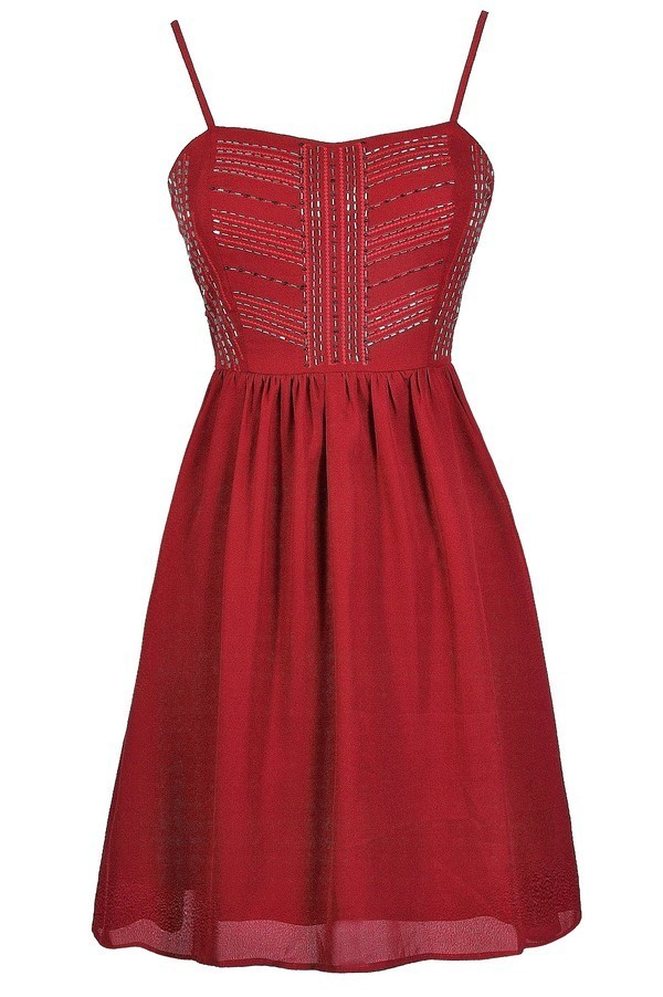 Lily Boutique Red Party Dress Burgundy Party Dress Red Beaded ...