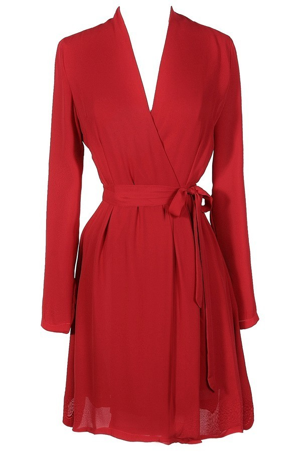 Lily Boutique Cute Red Dress Red Wrap Dress Cute Holiday Dress ...