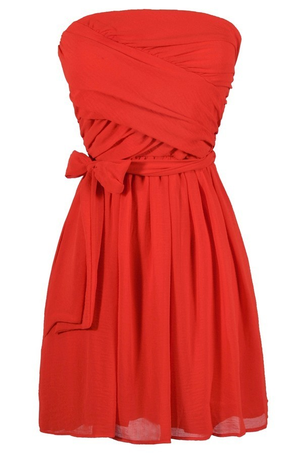 Cute Red Dress Red Strapless Dress Bright Red Dress