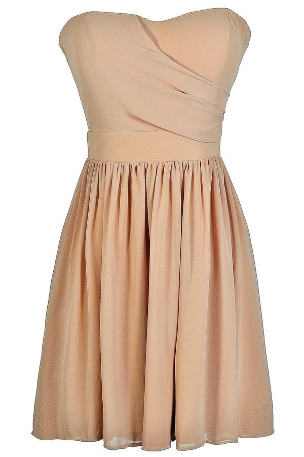 bb62be753 Cute Mocha Dress, Mocha Strapless Dress, Mocha Party Dress, Mocha  Bridesmaid Dress,