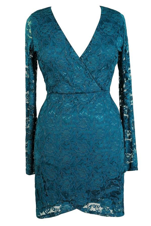 Cute Plus Size Dress, Teal Plus Size Dress, Teal Lace Plus Size ...