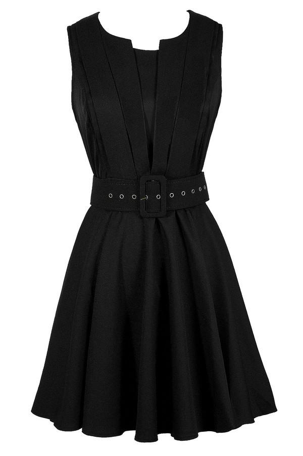 Lily Boutique Black Belted Dress, Black Belted A-Line Dress, Cute ...