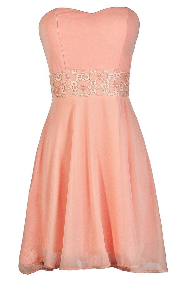 Lily Boutique Pink Strapless Dress Cute Pink Dress Pink Party ...