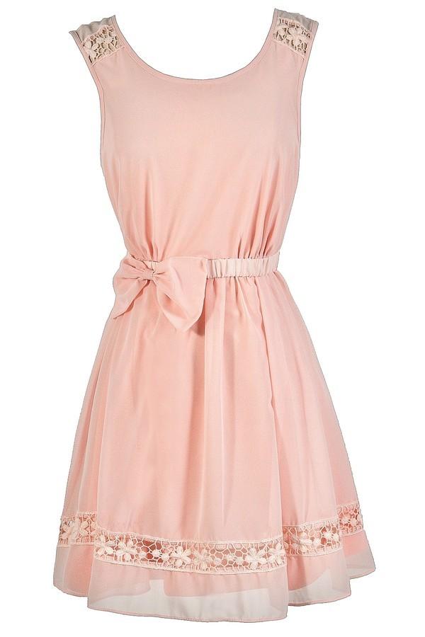 cute pink dress pink bow dress blush pink dress pale