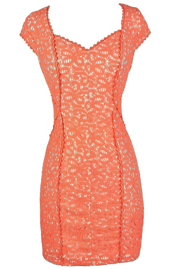 Lace Get Together Capsleeve Pencil Dress in Orange