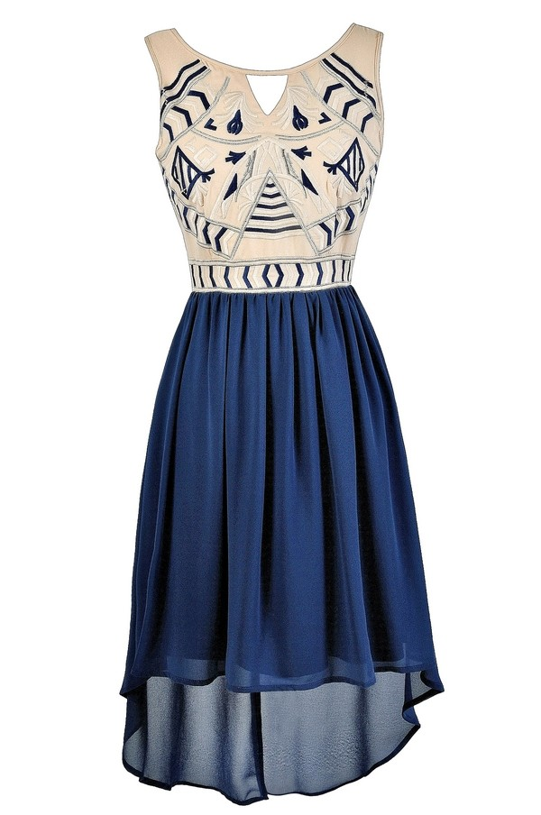 blue embroidered dress blue high low dress embroidered