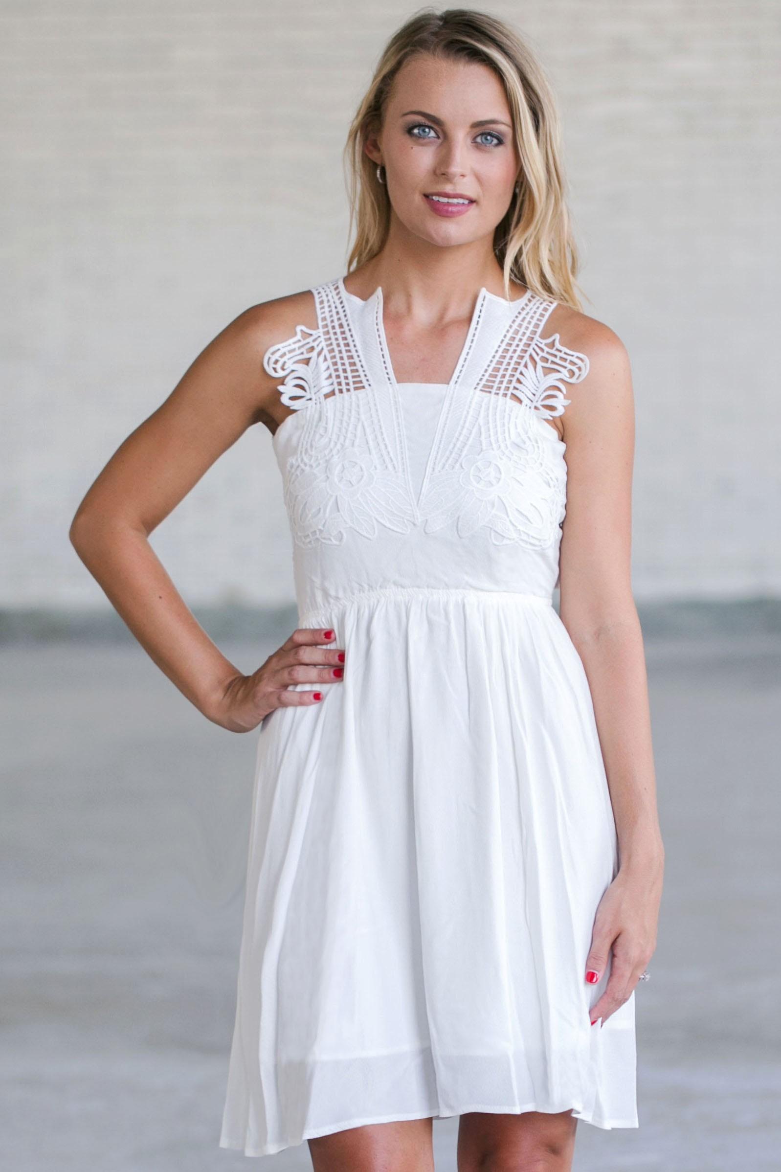 White Dresses for Women| Ivory & Off White Lace Dresses| Short ...
