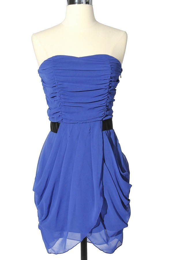 Shirred Contrast Waist Strapless Drape Dress In Royal Blue
