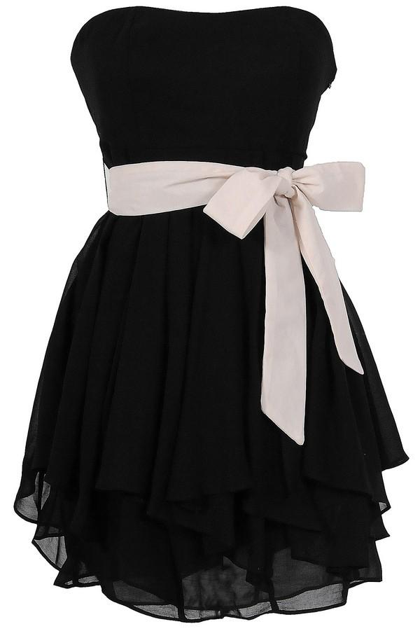 Ruffled Edges Chiffon Designer Dress In Black/Ivory Lily Boutique