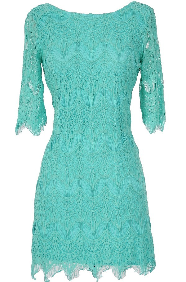 Lily Boutique Vintage-Inspired Lace Overlay Dress in Turquoise ...