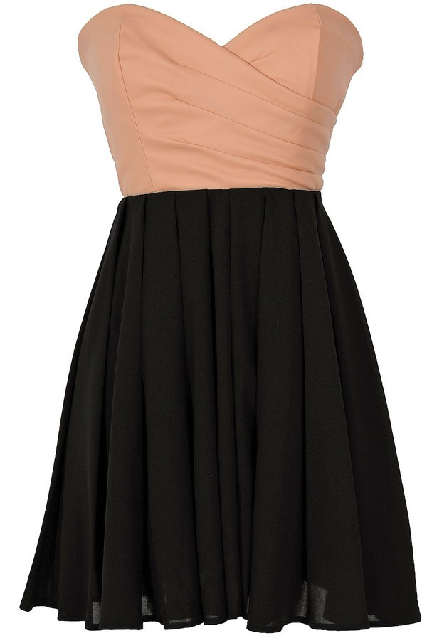 Leatherette and chiffon strapless dress in peach black for 31 twenty five boutique