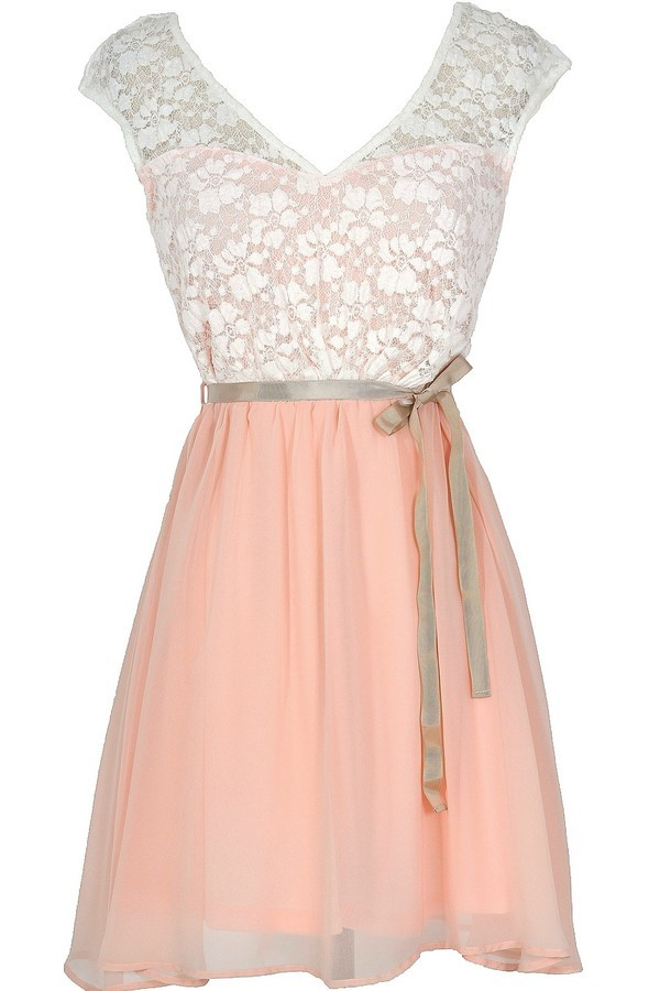 Cream And Pink Dress Pink Lace Dress Cute Pink Dress Lily Boutique
