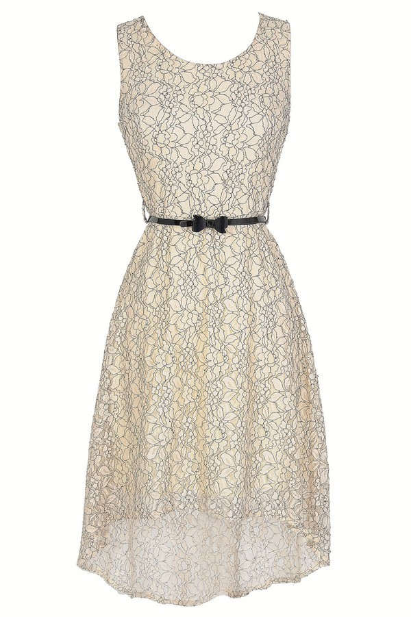 Drawing Outlines Belted Floral Lace High Low Dress In