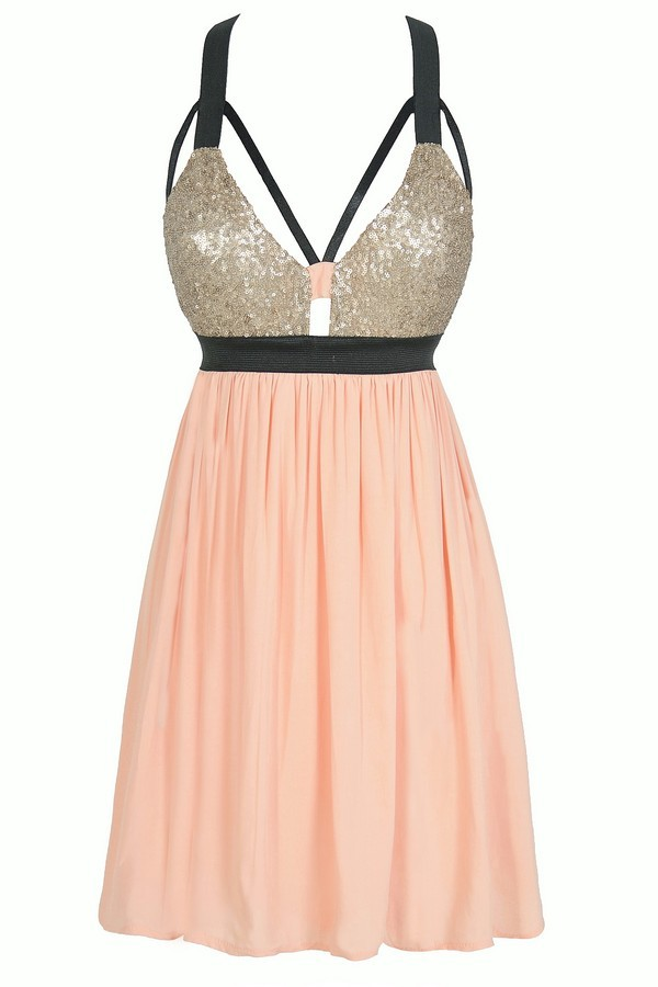 Pink and Gold Sequin Dress Pink and Gold Party Dress Black and Pink Sequin Dress Shining ...