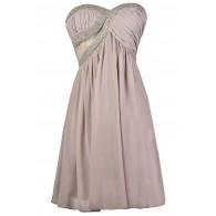Lavender Light Purple Beaded Bridesmaid Party Dress