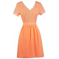 Cute Neon Orange Lace Dress, Neon Orange lace and Chiffon Dress, Neon Orange Capsleeve Dress