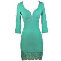 Cute Mint Lace Cocktail Dress