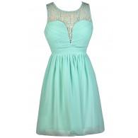 Mint A-Line Dress, Cute Mint Dress, Mint Party Dress, Mint Cocktail Dress, Mint Summer Dress, Mint Crochet Neckline Dress