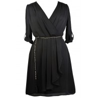 Black Plus Size Wrap Dress, Cute Plus Size Dress, Black Plus Size Party Dress