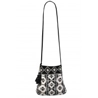 Black and Ivory Aztec Beaded Crossbody Purse