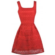 Red Lace A-Line Holiday Party Dress