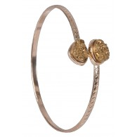 Gold Pyrite Bangle Bracelet, Cute Jewelry, Boho Jewelry