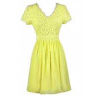 Yellow Lace Dress, Cute Yellow Dress, Yellow Bridesmaid Dress